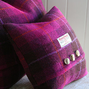 Wild Foxglove Harris Tweed Cushion - bedroom