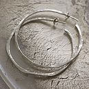 Softly Hammered Silver Hoop Earrings