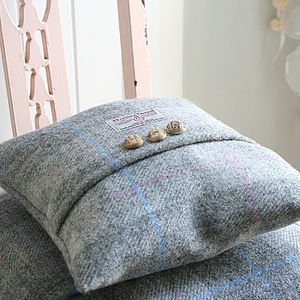 Dove Dawn Harris Tweed Cushion - living room