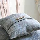 Thumb grey mist small harris tweed cushion