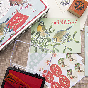 Vintage Style Christmas Birds Mailing Set - christmas stickers