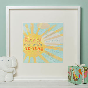 Personalised Sunshine Nursery Print - personalised