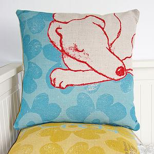 Linen Contented Dog Cushion - cushions