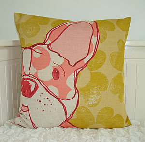 Linen French Bulldog Cushion
