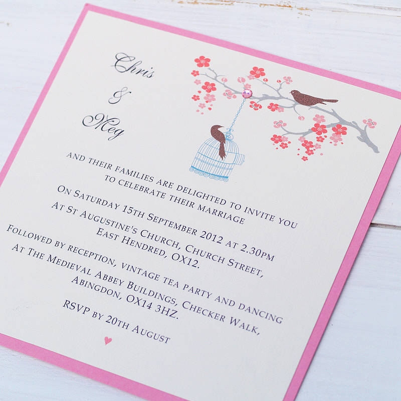 Love bird wedding invitations canada