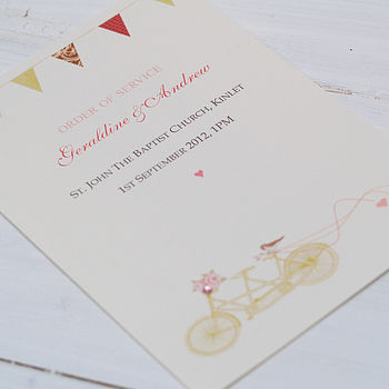 Order Of Service Wedding 'Tandem Bike' Cards