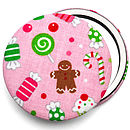 Christmas Candy Compact Mirror - Pink