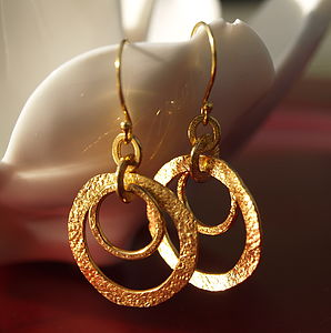 22K Gold Plated Double Hoop Earrings - earrings