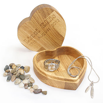 Personalised Oak Heart Jewellery Treasure Box
