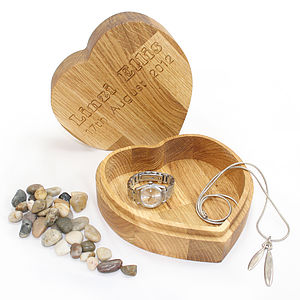 Personalised Oak Heart Jewellery Treasure Box - jewellery boxes & storage