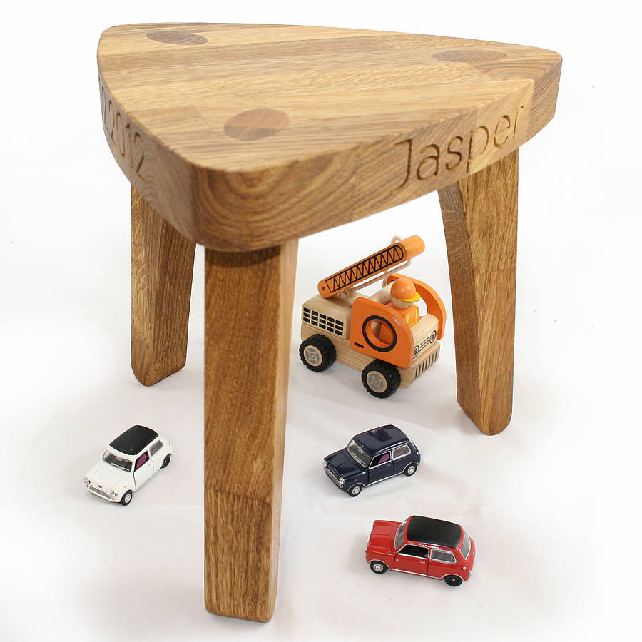 Personalised children 39 s oak christening stool by cleancut wood Wooden childrens furniture