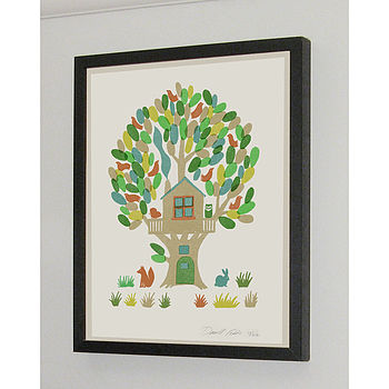 Tree House Signed Silk Screen Art Print