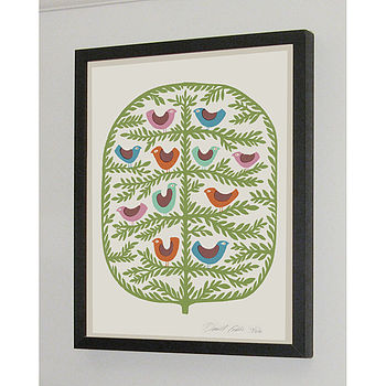Bird Tree Signed Silk Screen Art Print