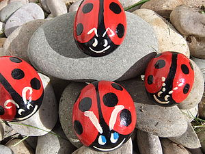 Pebble Pet Ladybirds - art & decorations
