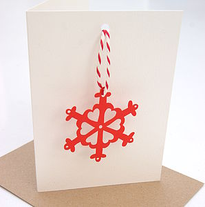Snowflake Christmas Laser Cut Decoration Card - christmas cards sent direct