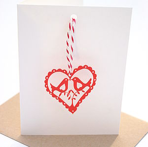 Heart Christmas Laser Cut Decoration Card - christmas cards sent direct