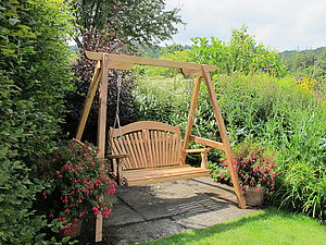 Tranquillity Oak Fan Back Swing Seat - garden furniture