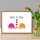 Personalised 'Elephant Sweethearts' Poster