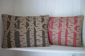 ' Birch Trees ' Hand Printed Cushion - bedroom
