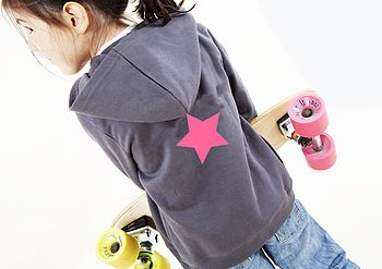 Personalised Dark Grey Hoodie With Pink Star