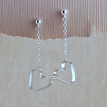 Silver Secret Heart Earrings