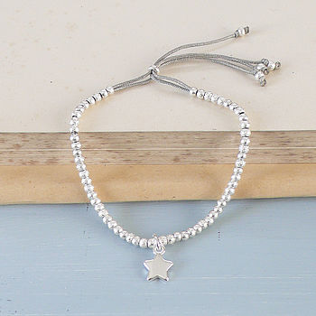 Textured Beaded Bracelet With Star Charm