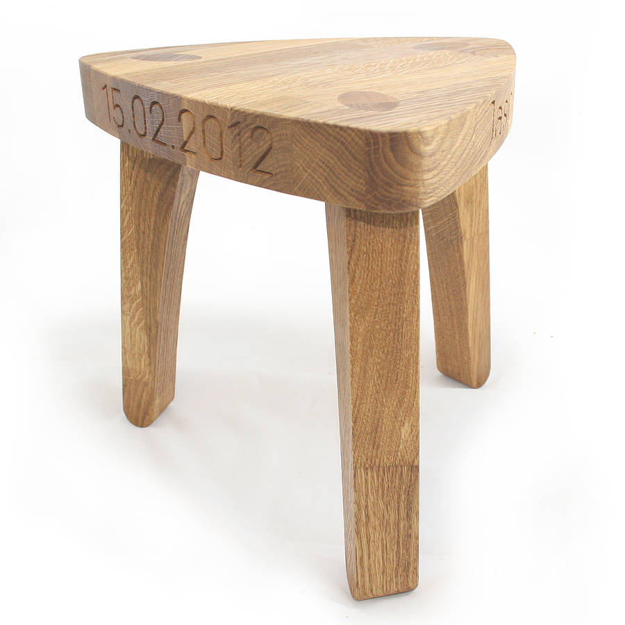 Personalised Children S Oak Christening Stool By Cleancut