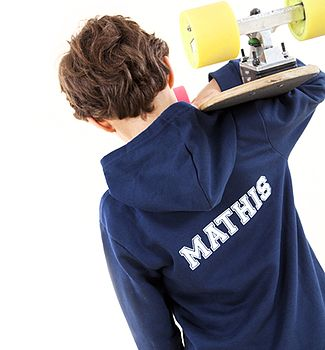 Personalised Navy Sporty Hoodie With White printing