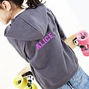 Personalised Dark Grey Sporty Hoodie With Pink Printing