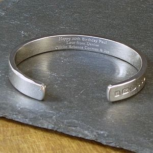Men's Solid Silver Bangle Bracelet - for him