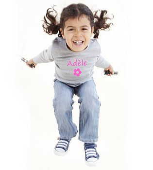 Girl's Personalised Long Sleeved T Shirt With Fushia Flower And Printing