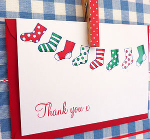 10 Christmas Stocking Thank You Cards - cards & wrap