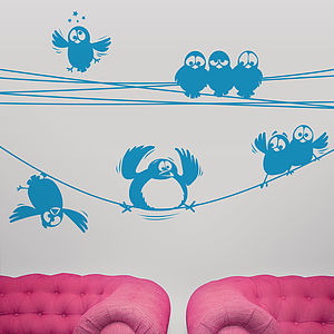 Birds On A Wire Wall Stickers