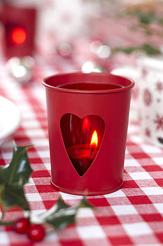 Red Tin Tealight Holder with Heart Detail