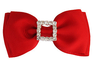 Double Diamante Sparkle Bow - hair accessories