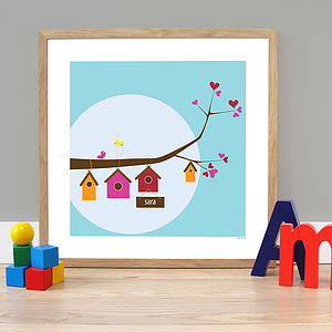 Personalised 'Birdhouse Family' Poster