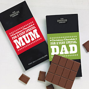 'Mum' or 'Dad' Christmas Chocolate Bar - food gifts