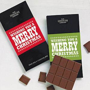Merry Christmas Personalised Chocolate Card - chocolates & confectionery