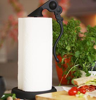 Cast Iron Horta Kitchen Roll Holder in Black
