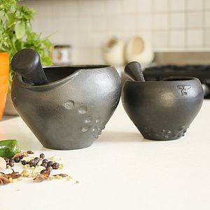 Cast Iron Gaudi Pestle And Mortar - kitchen