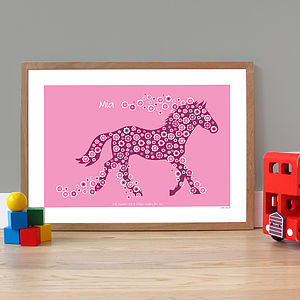 Personalised 'Horse Of Flowers' Poster