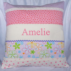 Personalised Stripey Patchwork Cushion
