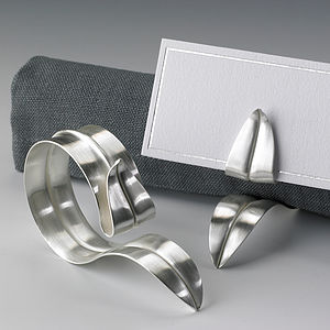 Handmade Silver Napkin Ring Placecard Holder - occasional supplies