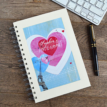 Personalised Paris Hearts Notebook