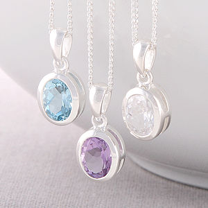 Oval Silver Gemstone Necklace
