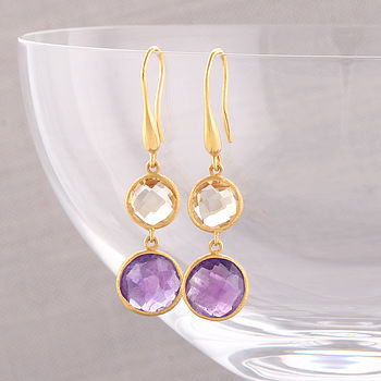 Gold Citrine And Amethyst Earrings