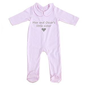 Personalised Baby 'Little Sister' Pyjamas