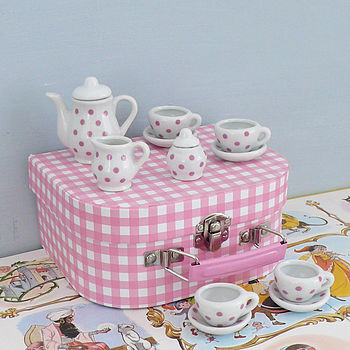 Children's Mini Porcelain Tea Set In Case