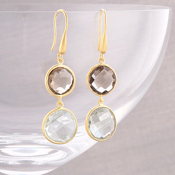 Gold Smoky Quartz And Green Amethyst Earrings