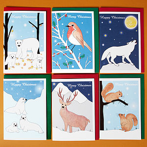 Pack Of Three Animal Christmas Cards